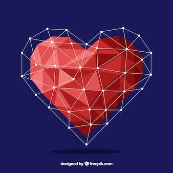 Fundo dos namorados com coração geométrico