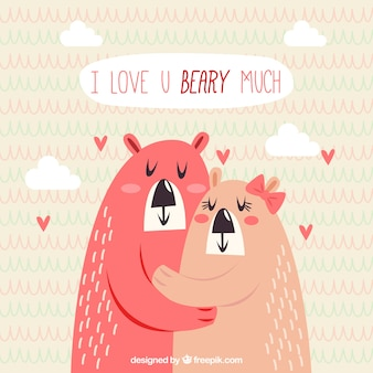 Fundo dos namorados com dois ursos