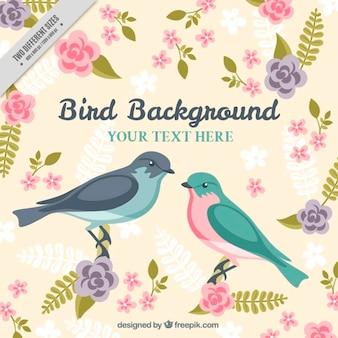 Fundo dos pássaros com folhas e flores