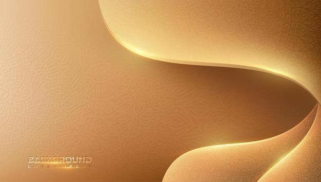 Fundo dourado abstrato com design de padrão de luxo