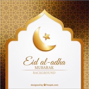 Fundo dourado abstrato de eid al-adha