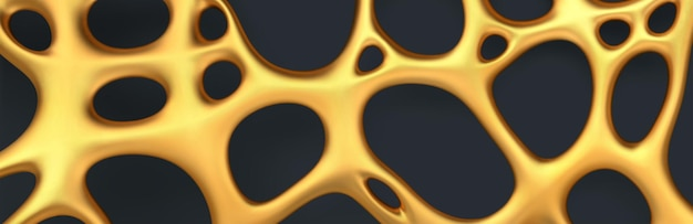 Fundo dourado abstrato de luxo. malha irregular orgânica dourada realista com orifícios.