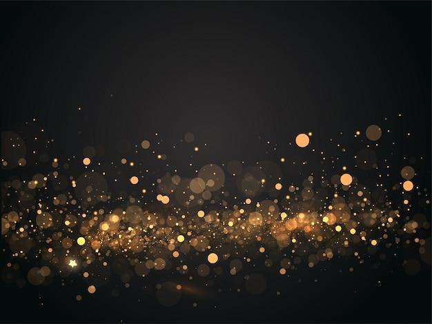 Fundo dourado abstrato do preto do efeito de luzes de bokeh.