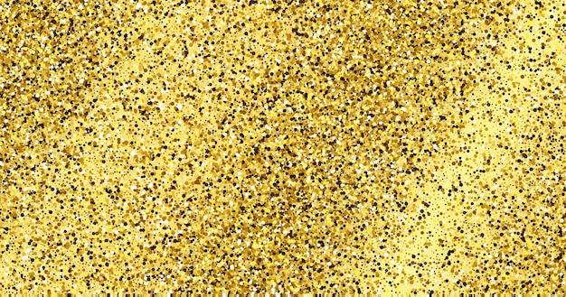 Fundo dourado brilhante com brilhos de ouro e efeito de glitter. design de banner. espaço vazio para o seu texto. ilustração vetorial