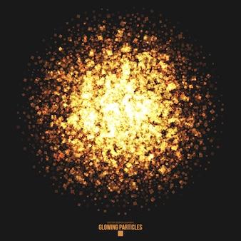 Fundo dourado brilhante de partículas quadradas