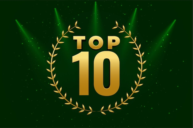 Fundo dourado brilhante do top 10