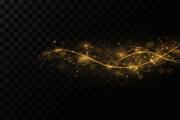 Fundo dourado com linhas de luz onduladas decoração de natal