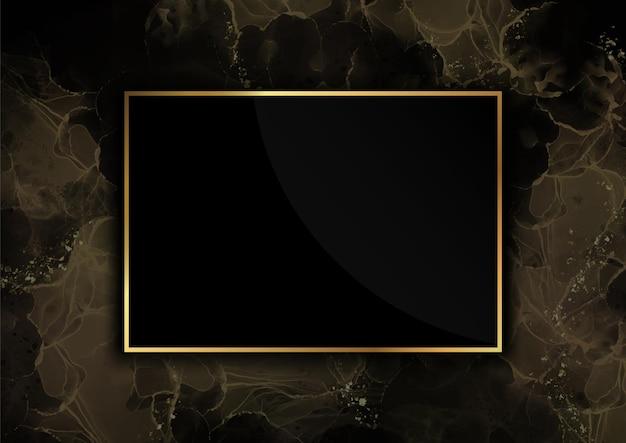 Fundo dourado com moldura luxuosa e design de mármore líquido