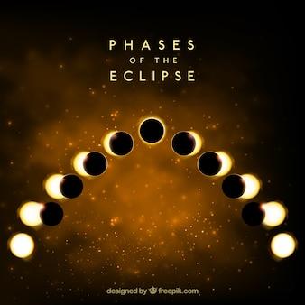 Fundo dourado das fases do eclipse