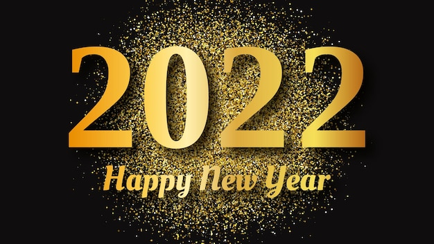 Fundo dourado de 2022 feliz ano novo. pano de fundo abstrato com uma inscrição de ouro no escuro para cartões de férias de natal, folhetos ou cartazes. ilustração vetorial