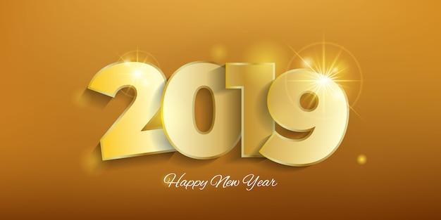 Fundo dourado de ano novo 2019