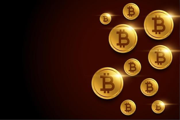 Fundo dourado de bitcoins com espaço de texto