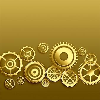 Fundo dourado de engrenagens metálicas