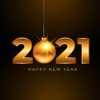 Fundo dourado de feliz ano novo 2021 com bola de natal