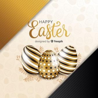 Fundo dourado de feliz dia de páscoa