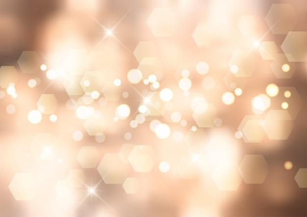 Fundo dourado de natal com luzes bokeh e estrelas