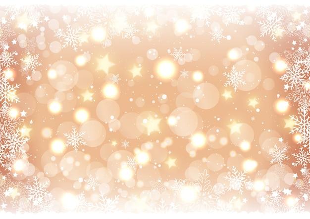 Fundo dourado de natal com luzes e estrelas bokeh