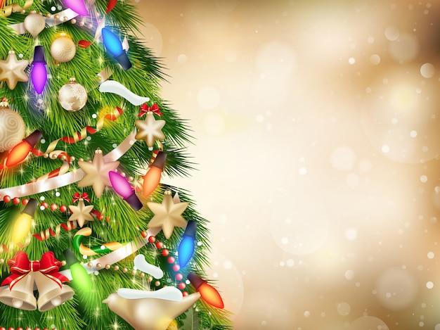 Fundo dourado de natal de luzes de foco com árvore decorada.