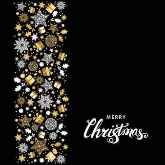 Fundo dourado de natal. padrão de natal ouro e letras brancas. cartão do vetor.