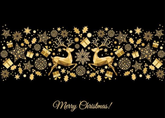 Fundo dourado de natal. renas de natal de ouro. molde do vetor para o cartão.