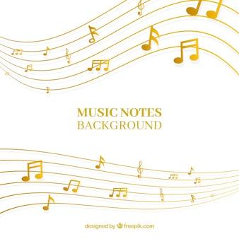 Fundo dourado de pentagrama com notas musicais