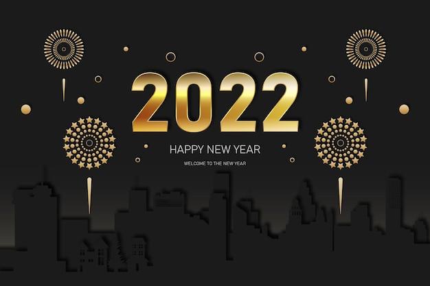 Fundo dourado do ano novo 2022 com a cidade. ilustração vetorial.