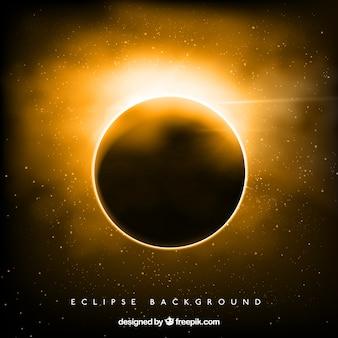 Fundo dourado do eclipse solar