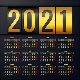 Fundo dourado do modelo de layout do calendário 2021