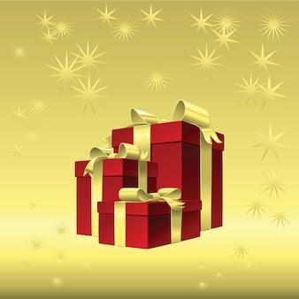 Fundo dourado do natal do vetor - caixa de presente vermelha com laço de fita de ouro