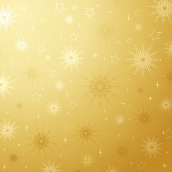 Fundo dourado dos flocos de neve e estrelas