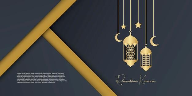 Fundo dourado e preto do ramadã com decoração de lanterna, lua e lua crescente. conceito de design de cartão islâmico. arabescos de luxo