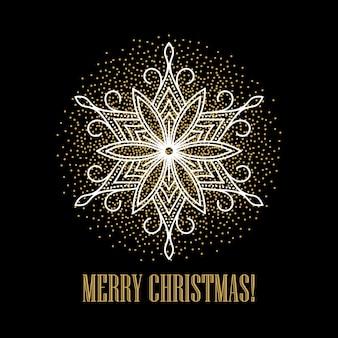 Fundo dourado festivo com flocos de neve dourados, cartão de felicitações