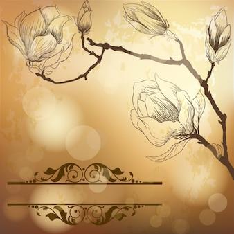 Fundo dourado luxo com flor de magnólia
