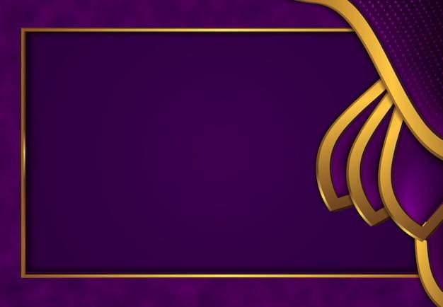 Fundo dourado luxuoso com metal roxo escuro