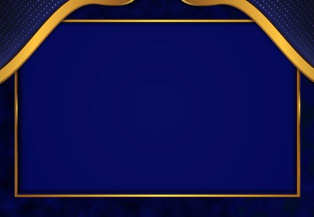 Fundo dourado luxuoso com textura de metal 3d azul