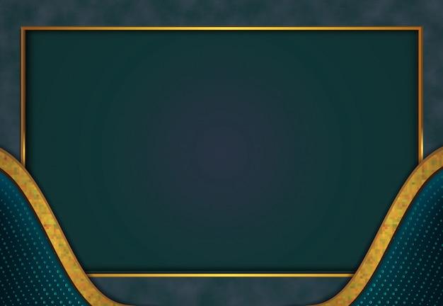 Fundo dourado luxuoso com textura de metal azul estilo 3d abstrato