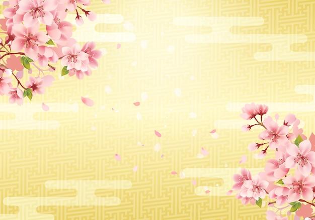 Fundo dourado tradicional japonês e flor de cerejeira. .