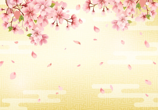Fundo dourado tradicional japonês e flor de cerejeira