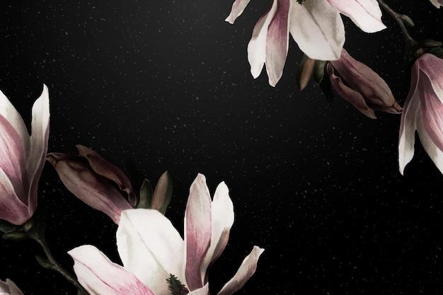 Fundo dramático da flor do vetor da borda da magnólia