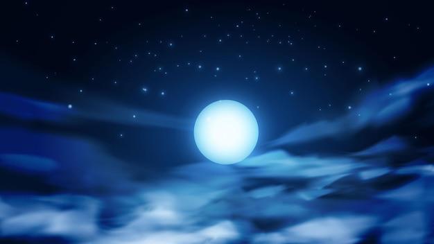Fundo dramático do céu com lua cheia e nuvens