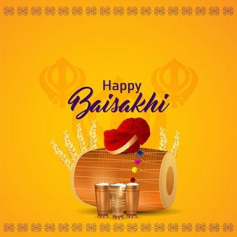 Fundo e cartão de felicitações da celebração do feliz vaisakhi do festival sikh
