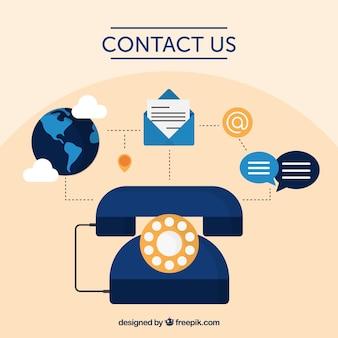 Fundo e contacto telefónico elementos no design plano