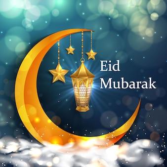 Fundo eid mubarak com lanternas douradas realistas, estrela e fundo bokeh cintilante