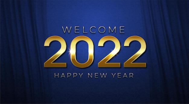 Fundo elegante 2022 azul e dourado feliz ano novo