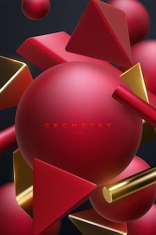 Fundo elegante abstrato com aglomerado de formas geométricas vermelhas e douradas