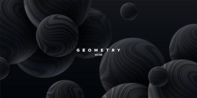 Fundo elegante abstrato com esferas fluidas pretas texturizadas com padrão listrado ondulado