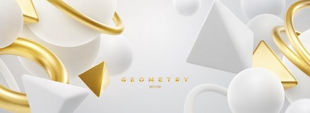 Fundo elegante abstrato com formas geométricas em branco fluido e dourado