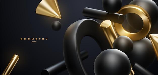 Fundo elegante abstrato com formas geométricas fluidas pretas e douradas