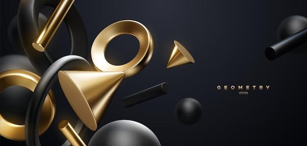 Fundo elegante abstrato com formas geométricas pretas e douradas fluidas