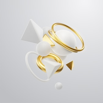 Fundo elegante abstrato com nuvens brancas e douradas de formas geométricas em 3d